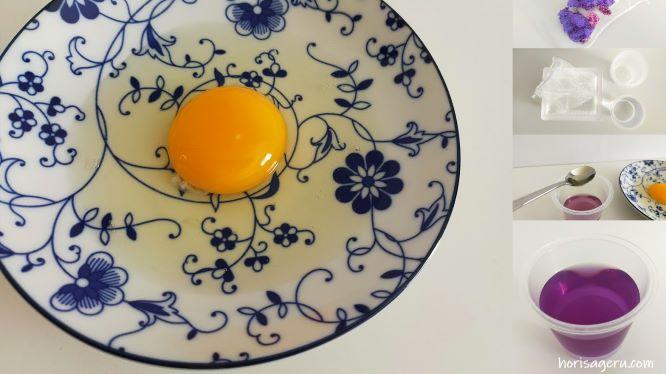朝顔の色水でのpH実験で使用した卵の白身